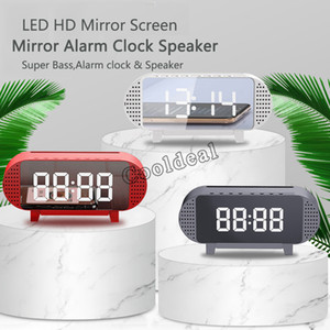 A19 Mirror Alarm Clock With Bluetooth Speaker FM Radio Phone Holder Dimmable LED Display 1200mAh Large Battery MP3 Player new