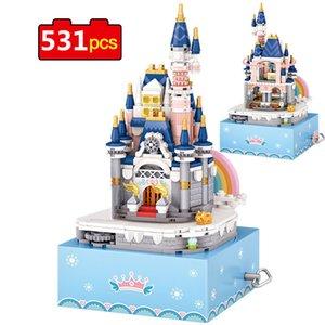 531pcs Mini Princess Castle Building Blocks Rotating Eight Music Box DIY Assembly Bricks Toys for Children Gifts