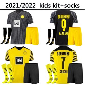 21 22 Dormund Home Alewy Kit Kit Socks Child Boys Haaland Jerseys Borussia 2021 2022 Reus Neongelb Bellingham Football Shirt Sancho Hummels Brandt Jersey