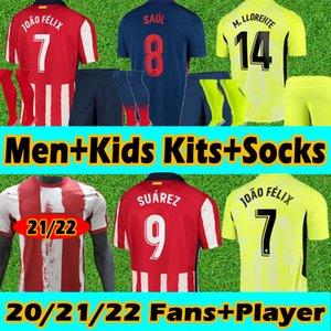 Nuovo 21/22 Atletico Madrid maglia da calcio Soccer Jerseys Fans Player Version uomini+bambini Kits+Calze 2020 2021 João Félix Suarez Correa Koke Jersey Magliette da calcio