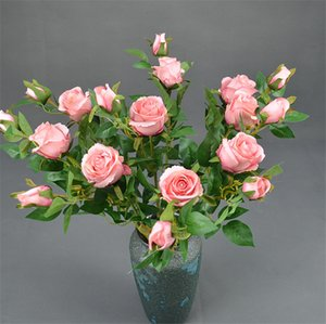 2 головы болгарские розы 68см длина моделирования поддельных розовых букет DIY свадьба вечеринка дома декоративные цветы