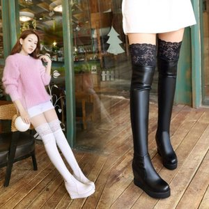 Autumn and winter heeled white knee high slope heel elastic bobbin large women's 40-43 dance boots