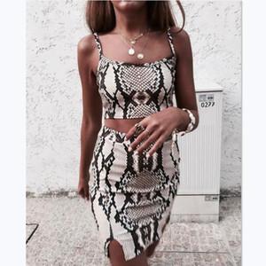 두 조각 세트 여성 snakeskin 인쇄 섹시한 여름 옷 민소매 자르기 탑 미니 스커트 파티 클럽 드레스 숙녀 2 개 조각 세트