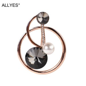 Pins, Brooches ALLYES Crystal Musical Note Brooch Pins Badges Rhinestone Clothing Accessories Fashion Jewelry