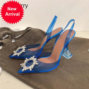 Blue Clear Crystal Goblet Heel Sandals Women Back Strap Pointed Toe Jeweled Sunflower Buckle Transparent PVC Party Shoes Woman