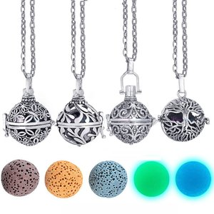 Dropshipping Felt Ball Lava Stone Aromatherapy Antique Vintage Glow Diffuser Locket Necklace for Perfume Essential Oil