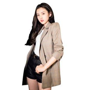 Vintage Plaid Pockets Women Blazer Jackets Casual Long Sleeve Female Retro Suits Coat Feminino Blazer Outerwear High Quality
