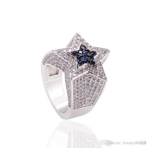 USpecial Fashion Hip Hop Mens Jewelry Rings Five-point Star Bling Rings Iced Out Zircon Fashion Hiphop Gold Silver Ring