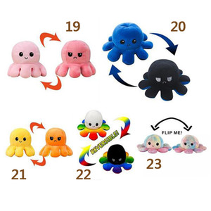 23 Styles Reversible Flip Octopus Stuffed Doll Soft Double-sided Expression Plush Toy Baby Kids Gift Doll New Year Festival Party