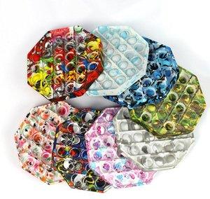 Tie-Dye Push Pop It Fidget Toy Color Watermark Customizable Bubble Sensor Sensory Autism Striken Spreeze Sensory Juguete para niños OOD5225