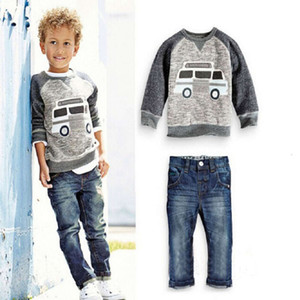 spring Kids tales clothes boys' suit children's raglan sleeve top jeans two piece set