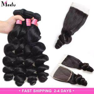 Meetu 10A Mink Brazilianische lose Welle mit Spitzenverschluss 4 Bündeln Jungfrau Haarwebart nasses und welliges brasilianisches menschliches Haarbündel mit Schließung