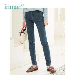 Pantaloni da jeans caldi ricamato stile artistico retrò inverno inman