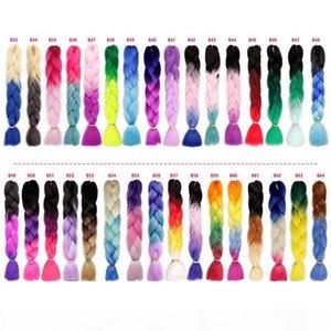 Três cores ombre xpressão sintética trança cabelo 24inches crochet tranças de crochet cabelo jumbo tranças 100g pack xpression trançando cabelo