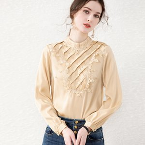 93% Silk 7% Spandex Women's Shirt Stand Collar Long Sleeves Embroidery Lace Patchwork Plaid Elegant Pullover Blouse Camisa Tops