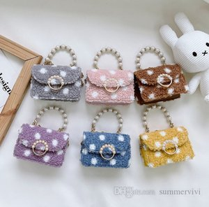 Girls rhinestones pearls chain handbag kids polka dots woolen princess single shoulder bag children plush messenger bags Q2233