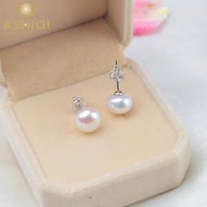 Ashiqi Natural Freshwater Pearl Study Earrings 2021 Trendy for Women Real 925 Sterling Sier Jewelry Poison Wholesale