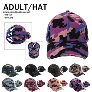 Camouflage Ponytail Baseball Cap Knitting Criss Cross Washed Ball Caps Pattern Fashion Camouflage High Messy Hat Supplies LLA343