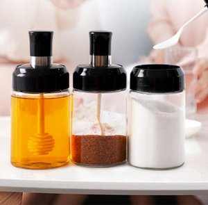 Salt Shaker Spice Bottle Glass Organizer 250ml Condiment Can With Spoon Kitchen Seasoning Oil Container Home Paprika Storage Box GWD4866