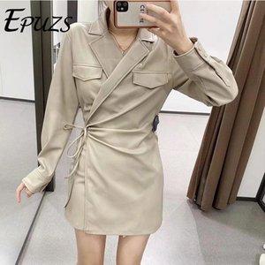 2021 Spring Femmes Beige Sashes Mini Robe Fashion Slim Long Long Sleve Elegante Pu Robe Dame Casual Loose Chic Epuzs