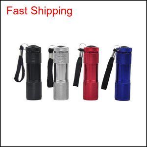 Flashlights Torches Aluminum Alloy Portable Uv Violet 9 Led 30Lm Torch Light Lamp Mini Flashlight 4 Color 2503029 Dph Wx0Sf