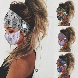 Fashion Cross Printed Masks Band Headwears Magic Scarves Stretch Sports Fitness Headband Button Hair Mask 2020 2pcs