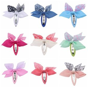 Chiffon Hair Bows Girls Hair Clips 2.6Inch Bowknot Ribbon Kids Barrettes Sweet Baby BB Clip Children Hair Accessories B4150