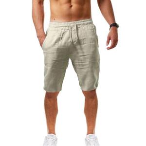 2020 Linen Trousers Linho Verao Calcas Dos Homens Com Cordao Loose Cotton and Men Solids Harem Short