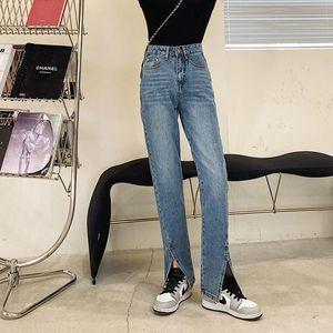Limiguyue Retro Split High Cintura Jeans Mujeres Pierna de ancho Pantalones rectos Pantalones de mezclilla delgado Jeans Negro Azul Coreano Primavera Otoño K221