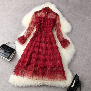 2021 Spring Long Sleeve Round Neck Red Sheer Tulle Floral Lace Ribbon Tie Bow Panelled Mid-Calf Dress Elegant Casual Dresses LF2511869