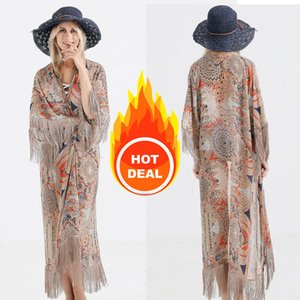 Retro Printed Half Sleeve Chiffon Cardigan Kimono Boho Fringed Tassels Bikini Cover Up Ankle Length Cape Beach Swimsuit 210223