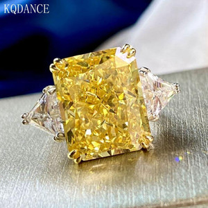 925 sterling silver Created Moissanite Citrine Gemstone Ring Cocktail Party Wedding Band Big Stone Rings Fine Jewelry for women