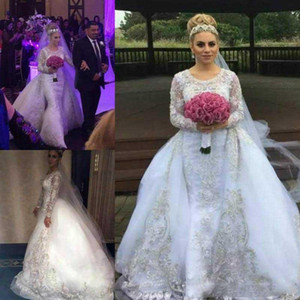 2021 Long Sleeves Wedding Dresses with Overskirt Lace Applique Scoop Neck Custom Made Plus Size Castle Wedding Bridal Ball Gown Vestidos