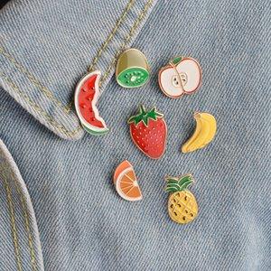 Venta al por mayor- Accesorios de moda Metal colorido esmalte serie de frutas sandía fresa manzana piña Botón de plátano Pin 301 T2