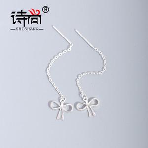 Shishang S925 Tremella line female natural butterfly plain silver long tassel temperament show thin Earrings 8OTP