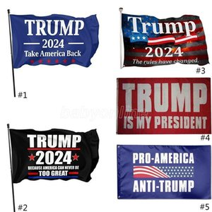 DHL Ship 3*5Ft 2024 Trump Flag 90*150cm US Presidential Election Flag Polyester Material Trump 2024 Flags
