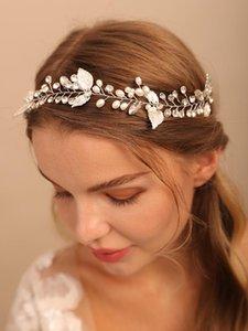 Headpieces Silver Leaf Wedding Headbands Rhinestones Pearls Hair Bands Luxury Tiaras Diadem Gift Romantic Bridal Accessories