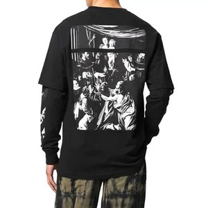 Off style White Religious Oil Painting Fake Two Long T-shirt Hip Hop Loose Couple Men and Women Leisure Short Sleeve Fashion