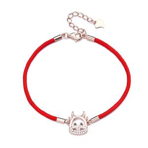 Zodiac Cow Red String Bracelet Female Simple Cute Cow Girl Bracelet Adjustable Couple Bracelets Friendship Jewelry wholesale