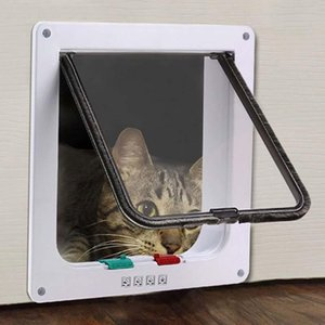Dog Houses & Kennels Accessories Funny Plastic 4 Ways Lockable Cat Door Security Flap Gate Pet Supplies Home Animal Safety Products