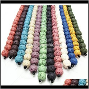 13Color Lava Rock Loose Hole Beads 6 8 10 12 14 Mm Essential Oil Diffuser Natural Stone For Bracelet & Necklace Diy Jewelry Making Eam Vanef