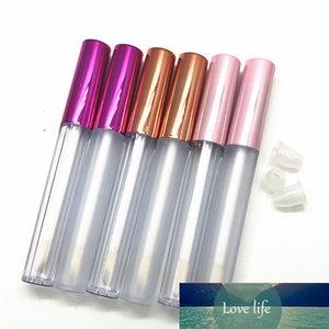 2,5ml plástico fosco vazio lipgloss tubo tampão de ouro, recipiente de brilho cosmético cosmético, recarregável rosa labial labelo tubos de brilho
