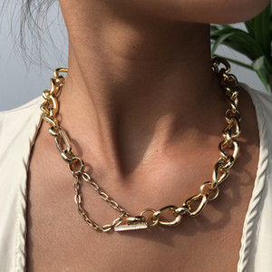 Hip Hop Jewelry Short Chain Neutral Necklace Personality Alloy Necklace Clavicle Chain Women Punk Lovers Necklace Drop Ship