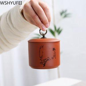 Çin Mor Kil Çay Kavanoz Seyahat Çay Poşeti Saklama Kutusu Taşınabilir Mühürlü Çay Caddy Kahve Biber Mutfak Baharat Organizatör