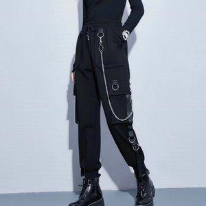 2021 street fashion overalls women casual jogging black high waist loose women trousers Korean satin ribbon women trousers direct sales