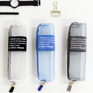 Tumi Japanese and Korean fashion riddle triangle pencil case small fresh simple pencil case translucent mesh pencil case