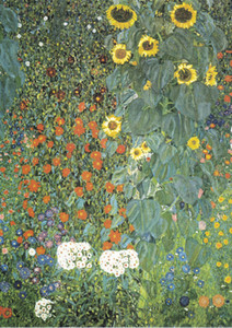 Klimt - Farm Garden with Sunflowers Home Decor Handpainted &HD Print Oil Painting On Canvas Wall Art Canvas Picture 210305