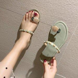 MR CO 2021 летние новые тапочки женские жемчужины ананасовые женские повседневные сандалии и тапочки набор пальцев на одну педаль