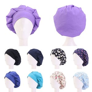 Cotton Hair Care Cap Adjustable Sweatband Bandage Chef Working Caps Women Bouffant Headwear Nurse Hat Hair Accessories Wholesale