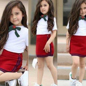 도매 패션 아기 세트 아이 소녀 티셔츠 드레스 옷 유아 유아용 복장 짧은 소매 탑 스커트 어린이 세트 의류
